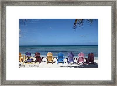 Rainbow Color Of Chairs Framed Print by Diana Riukas