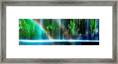 Rainbow Formed In Front Of A Waterfall Framed Print by Panoramic Images
