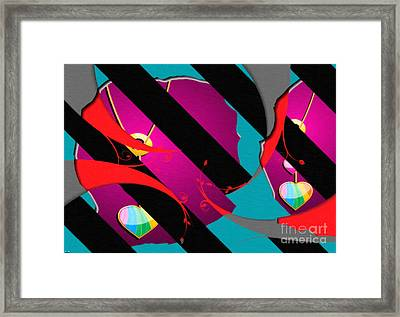 Rainbow Heart Necklace Abstract  Framed Print by Liane Wright