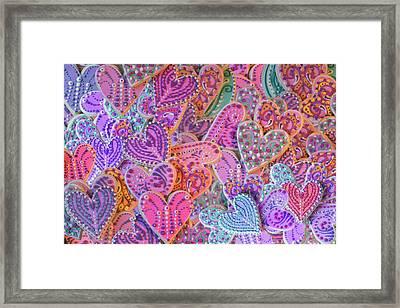Rainbow Henna Heart Cookies Framed Print