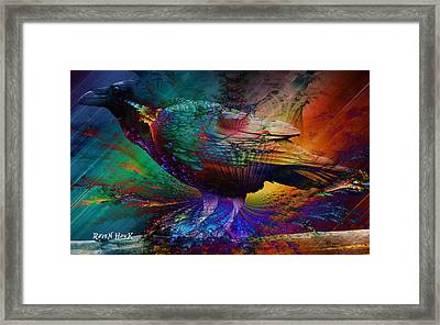Rainbow Raven Framed Print by The Feathered Lady