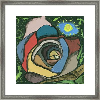 Framed Print featuring the painting Rainbow Rose by Artists With Autism Inc