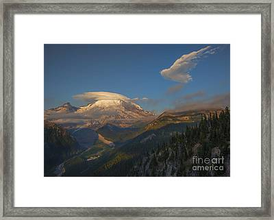 Rainier Capped Framed Print by Mike  Dawson