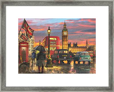 Raining In Parliament Square Framed Print by Dominic Davison