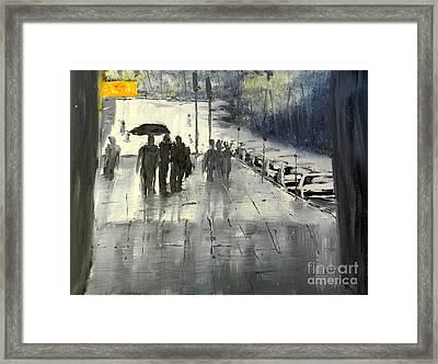 Rainy City Street Framed Print