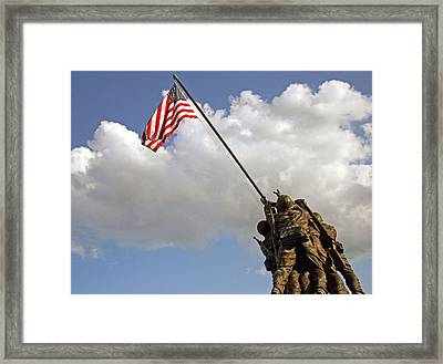 Framed Print featuring the photograph Raising The American Flag by Cora Wandel