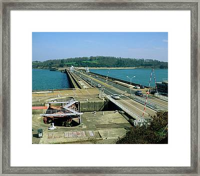 Rance Tidal Power Barrage Framed Print by Martin Bond/science Photo Library