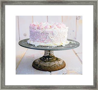 Raspberry White Chocolate Cake Framed Print by Edward Fielding