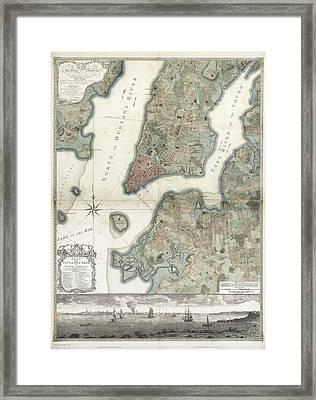 Ratzer Plan Of New York Framed Print