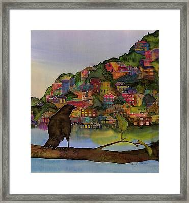 Raven And The Village  Framed Print