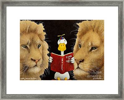 Reading Between The Lions... Framed Print by Will Bullas