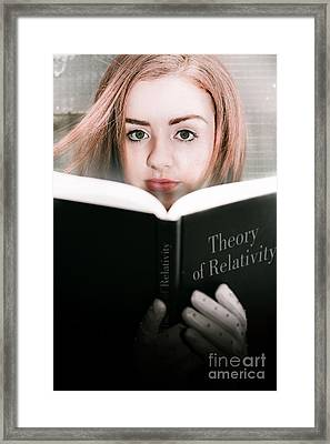 Reading Theory Of Relativity Book Framed Print by Jorgo Photography - Wall Art Gallery