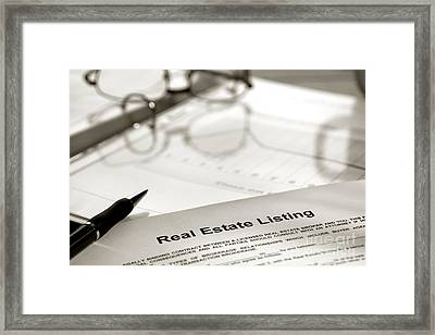 Real Estate Listing And Pen Framed Print by Olivier Le Queinec