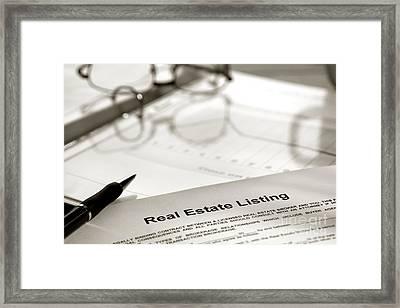 Real Estate Listing And Pen Framed Print