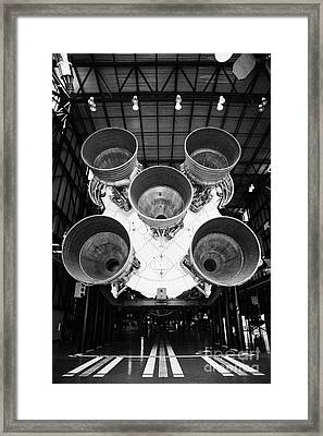 rear view of engines of the saturn five rocket in the apollo saturn v center at Kennedy Space Center Framed Print
