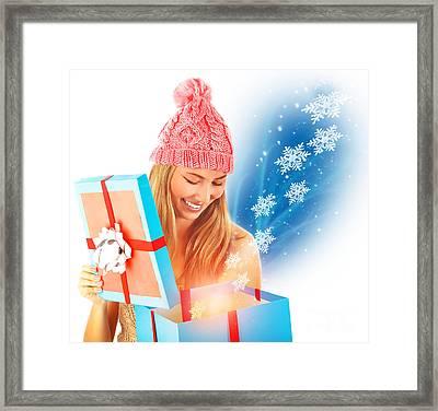 Receive Christmas Present Framed Print by Anna Om