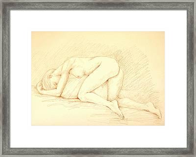 Reclining Woman Framed Print by Deborah Dendler