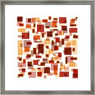 Red Abstract Rectangles Framed Print by Frank Tschakert