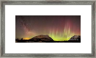 Red Aurora Borealis And Milky Way Framed Print by Joseph Bradley