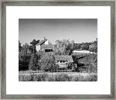 Red Barn And Water Mill On Farm In Maine Framed Print