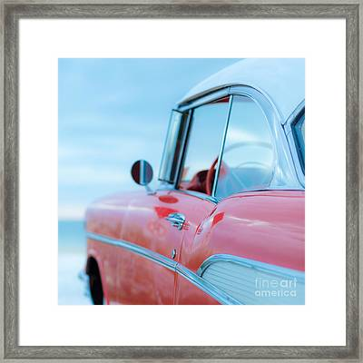 Red Chevy '57 Bel Air At The Beach Square Framed Print by Edward Fielding