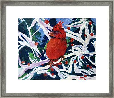 Framed Print featuring the painting Red Bird by Julie Todd-Cundiff