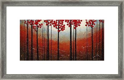 Red Blossom Framed Print by Carmen Guedez