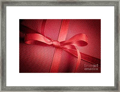 Red Bow On Present Framed Print