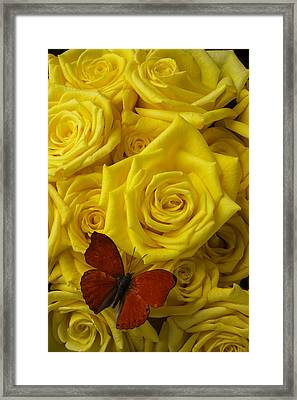 Red Butterfly On Yellow Roses Framed Print