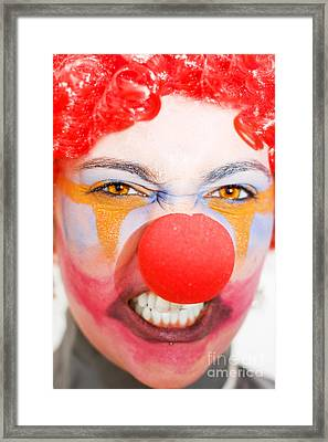 Red Clown Rage Framed Print by Jorgo Photography - Wall Art Gallery