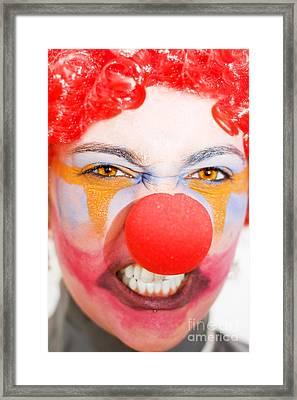 Red Clown Rage Framed Print