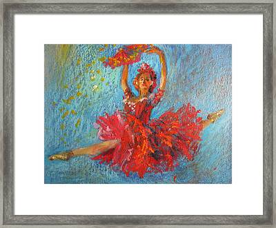 Red Fan Framed Print by Jieming Wang
