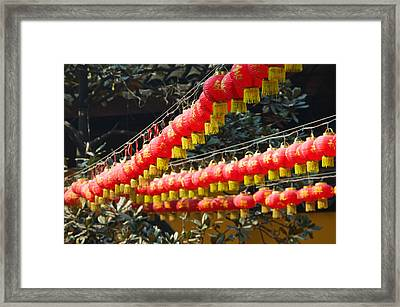 Red Lanterns At A Temple, Jade Buddha Framed Print