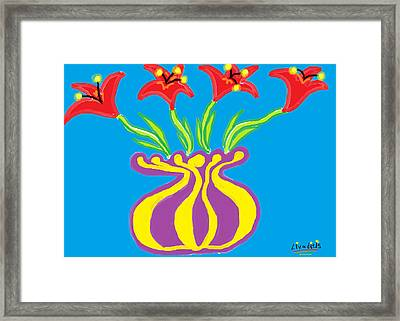 Red Lilies Fantasy Framed Print by Anita Dale Livaditis