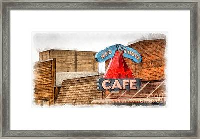 Red Lodge Cafe Old Neon Sign Framed Print