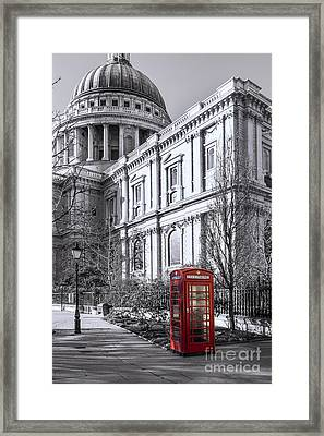 Red Phone Box At St Pauls Cathedral London Framed Print