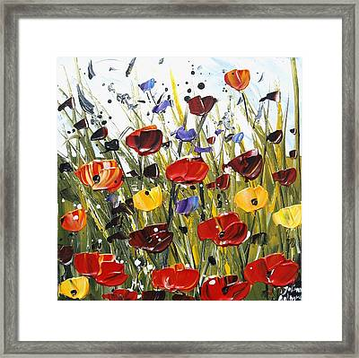 Red Poppifield Framed Print by Jolina Anthony