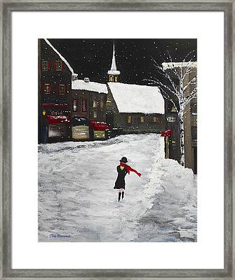 Red Scarf Winter Scene Framed Print by Dick Bourgault