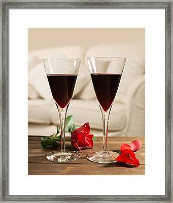 Red Wine And Roses Framed Print by Amanda Elwell