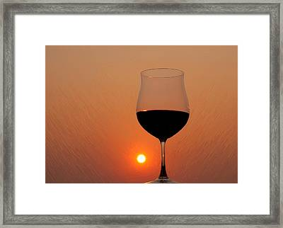 Red Wine At Sunset Framed Print by Martin Belan