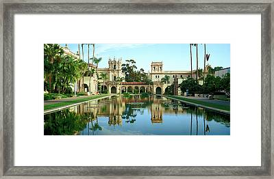 Reflecting Pool In Front Of A Building Framed Print