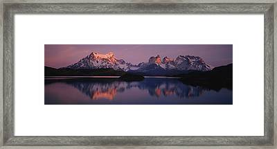 Reflection Of Mountains In A Lake, Lake Framed Print