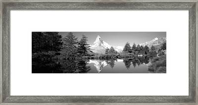 Reflection Of Trees And Mountain Framed Print