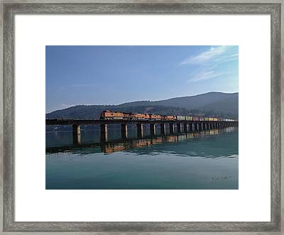 Reflection On Trains Framed Print by Rick Colby