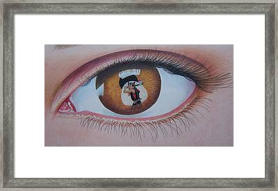 Reflections In A Golden Eye Framed Print by Constance DRESCHER