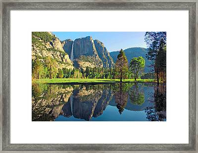 Reflections Of Yosemite Falls Framed Print by Lynn Bauer