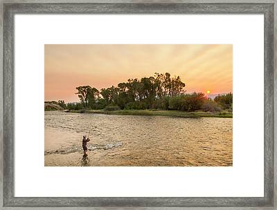 Reid Sabin Fly Fishing At Sunrise Framed Print by Chuck Haney