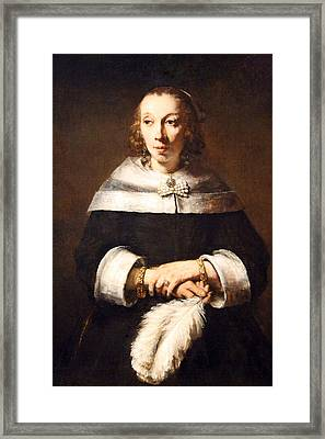 Rembrandt's Portrait Of A Lady With An Ostrich Feather Fan Framed Print by Cora Wandel