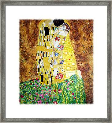 Framed Print featuring the painting Reproduction Of - The Kiss By Gustav Klimt by Ze  Di
