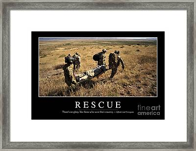 Rescue Inspirational Quote Framed Print by Stocktrek Images